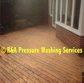pressure wash garden decking