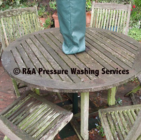 wooden table pressure washing